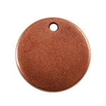 Antique Copper Plate Shape - Round Pendant - 13mm