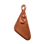 Copper Plate Shape - Flourished Triangle Pendant - 10mm x 18mm