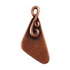 Antique Copper Plate Shape - Flourished Triangle Pendant - 10mm x 18mm