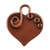 Antique Copper Plate Shape - Embellished Heart Pendant - 24mm x 22mm