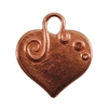 Copper Plate Shape - Embellished Heart Pendant - 24mm x 22mm