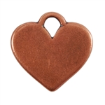 Antique Copper Plate Shape - Heart Pendant - 20mm x 16mm