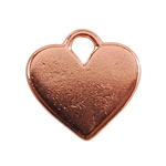 Copper Plate Shape - Heart Pendant - 20mm x 16mm