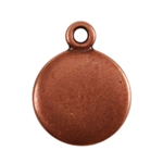 Antique Copper Plate Shape - Round Pendant - 10mm