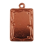 Copper Plate Shape - Doodle Frame Rectangle Pendant - 15mm x 21mm