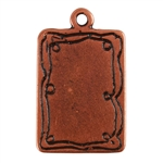 Antique Copper Plate Shape - Doodle Frame Rectangle Pendant - 15mm x 21mm