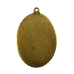 Antique Brass Plate Blank - Oval Pendant - 22mm x 30mm Pkg - 4