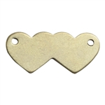Brass Blank - Double Hearts with Holes - 8mm x 18mm Pkg - 10