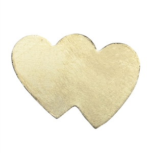 Brass Blank - Double Hearts - 14mm x 19.5mm Pkg - 10