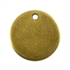 Antique Brass Plate Blank - Round Pendant - 13mm
