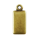 Antique Brass Plate Blank - Rectangle Pendant - 6mm x 11mm