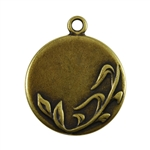 Antique Brass Plate Blank - Spring Round Pendant - 25mm Pkg - 2