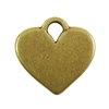 Antique Brass Plate Blank - Heart Pendant - 20mm x 16mm