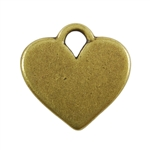Antique Brass Plate Blank - Heart Pendant - 20mm x 16mm Pkg - 2