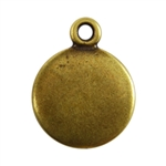 Antique Brass Plate Blank - Round Pendant - 10mm Pkg - 4