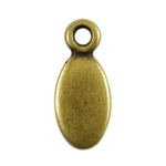 Antique Brass Plate Blank - Oval Pendant - 5mm x 8.5mm