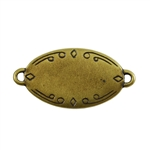 Antique Brass Plate Blank - Oval Connector - 28.5mm x 17.5mm Pkg - 2
