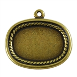 Antique Brass Plate Blank - Framed Oval Pendant - 20mm x 26mm