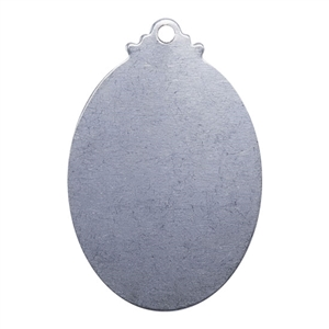 Nickel Shape - Fancy Oval Pendant - 1-1/4""