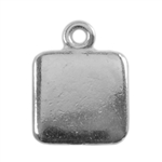 Silver Plate Shape - Square Pendant - 9mm