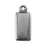 Antique Silver Plate Shape - Rectangle Pendant - 6mm x 11mm