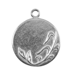 Silver Plate Shape - Spring Round Pendant - 25mm