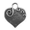 Antique Silver Plate Shape - Embellished Heart Pendant - 24mm x 22mm
