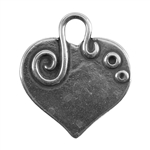 Antique Silver Plate Shape - Embellished Heart Pendant - 24mm x 22mm Pkg - 2