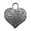 Silver Plate Shape - Embellished Heart Pendant - 24mm x 22mm
