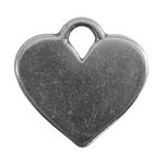 Antique Silver Plate Shape - Heart Pendant - 20mm x 16mm
