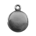 Antique Silver Plate Shape - Round Pendant - 10mm