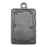 Antique Silver Plate Shape - Doodle Frame Rectangle Pendant - 15mm x 21mm