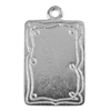 Silver Plate Shape - Doodle Frame Rectangle Pendant - 15mm x 21mm