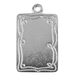 Silver Plate Shape - Doodle Frame Rectangle Pendant - 15mm x 21mm Pkg - 2