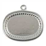 Silver Plate Shape - Framed Oval Pendant - 20mm x 26mm