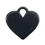 Gunmetal Plate Shape - Heart Pendant - 20mm x 16mm