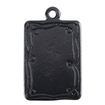 Gunmetal Plate Shape - Doodle Frame Rectangle Pendant - 15mm x 21mm
