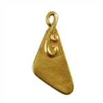 Gold Plate Shape - Flourished Triangle Pendant - 10mm x 18mm