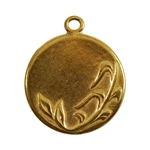 Gold Plate Shape - Spring Round Pendant - 25mm