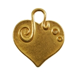 Gold Plate Shape - Embellished Heart Pendant - 24mm x 22mm Pkg - 2