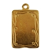 Gold Plate Shape - Doodle Frame Rectangle Pendant - 15mm x 21mm