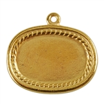 Gold Plate Shape - Framed Oval Pendant - 20mm x 26mm