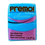 Premo Accent Sculpey Polymer Clay - Blue Translucent 2 oz block