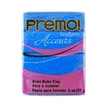 Premo Accent Sculpey Polymer Clay - Blue Glitter 2 oz block