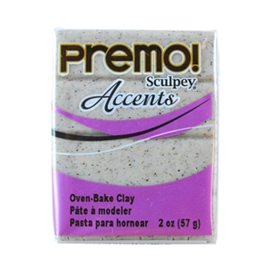 Premo Accent Sculpey Polymer Clay - Gray Granite 2 oz block