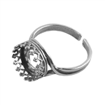 Sterling Silver Gallery Setting Adjustable Ring - Round 10mm