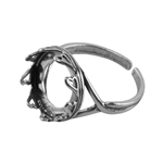 Sterling Silver Hearts Setting Adjustable Ring - Round 14mm