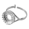 Sterling Silver Gallery Setting Adjustable Crimp Ring - Round 12mm