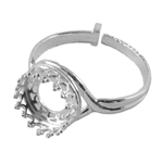 Sterling Silver Gallery Setting Adjustable Crimp Ring - Round 10mm