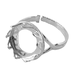 Sterling Silver Hearts Setting Adjustable Crimp Ring - Round 14mm